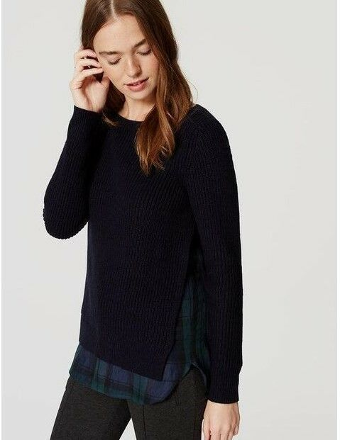 875072e1b17 Details about NWT Ann Taylor LOFT Navy Mixed Media Plaid ribbed sweater 2  in 1 XSmall