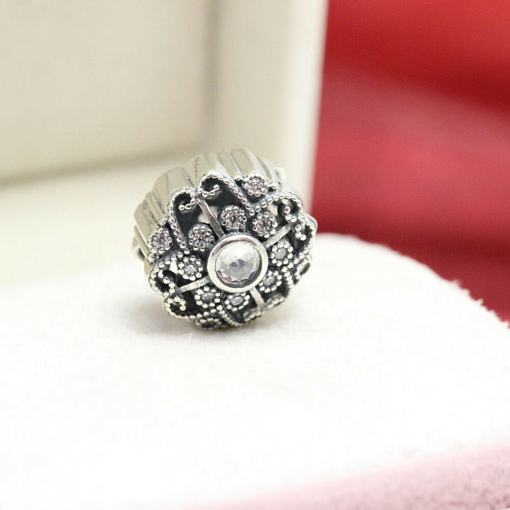 Details About Authentic Pandora Bracelet Bead Fairytale Bloom Charm Clear Cz 791961cz