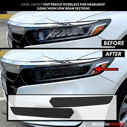 Kyпить SMOKE Head light HIGH + LOW BEAM Overlays Tint Vinyl Fits 2018-21 Honda ACCORD  на еВаy.соm