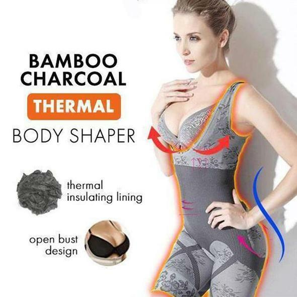 11bd21f058faf Details about Bamboo Charcoal Thermal Body Shaper Women Slimming Full  Control Bodysuit Bras