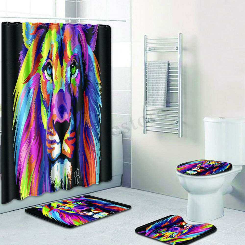 Details About Colorful Lion Bathroom Waterproof Polyester Shower Curtain Toilet Seat Cover Mat