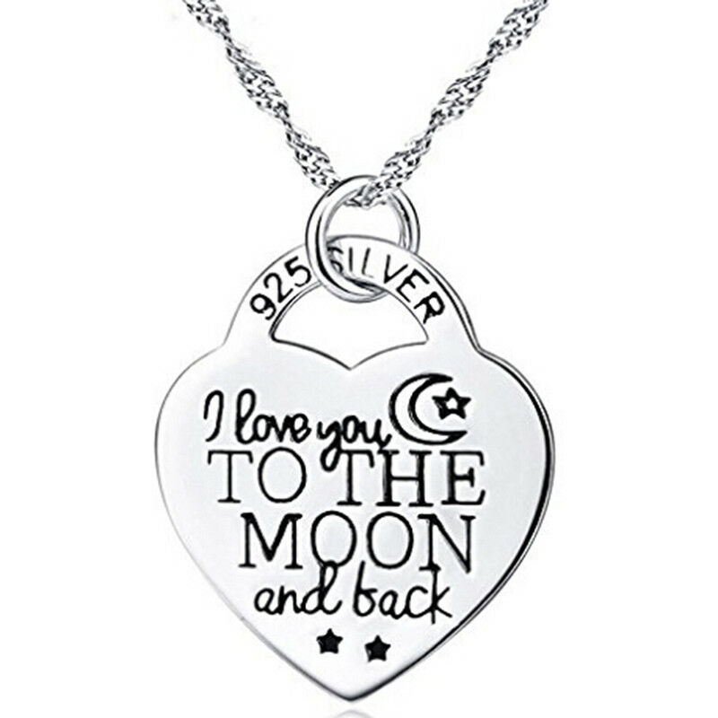 I Love You To The Moon And Back Letter Heart Pendant Necklace