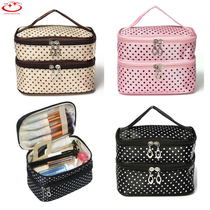 c952e770dde6 Details about Large Polka Dot Makeup Bag Organizer Travel Cosmetic Box Cute Toiletry  Bags Case