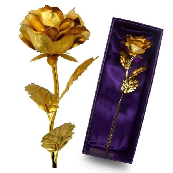 VALENTINES DAY GIFT FOR HER 24K Gold Plated Rose Dipped Flower Love Decor Women