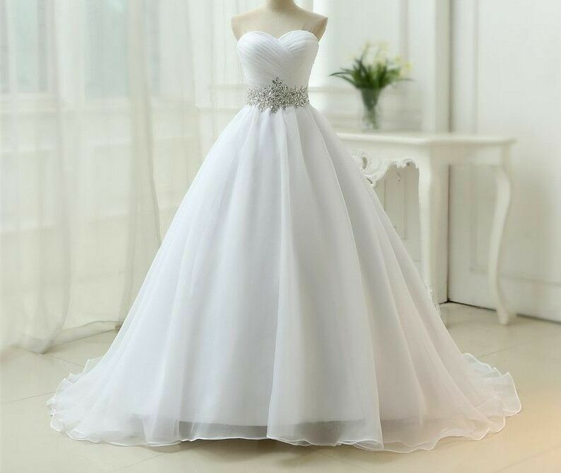 Wedding Dresses Strapless Court Train Organza Lace Up Elegant