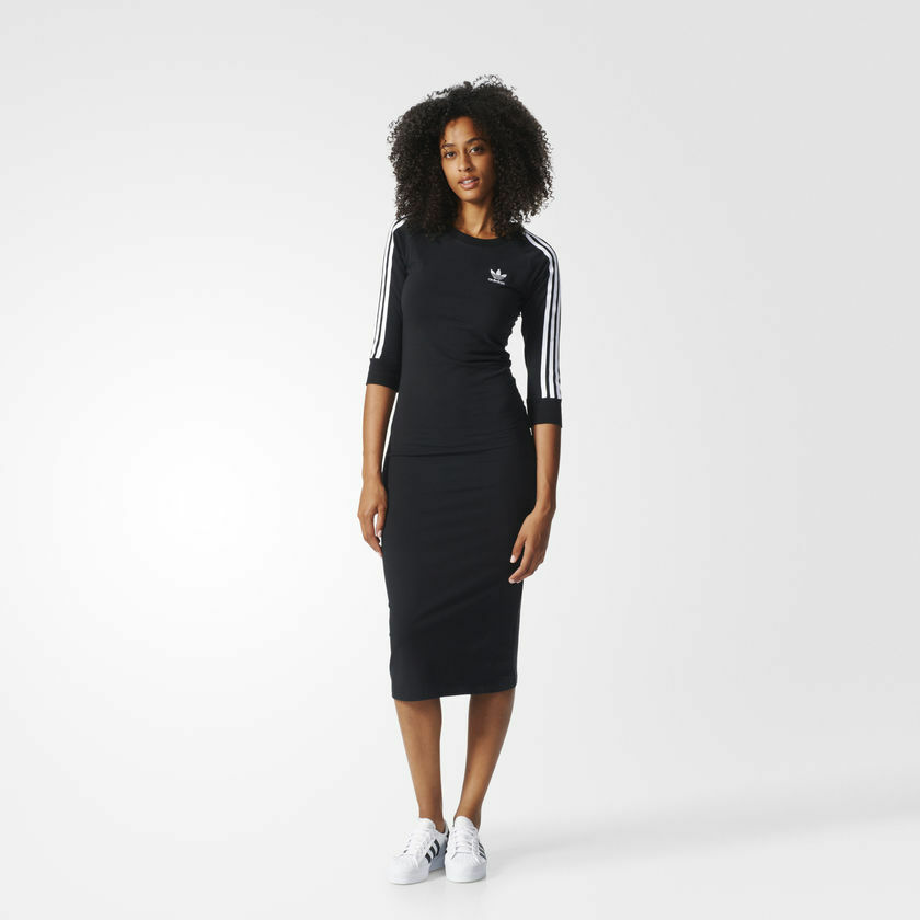 ec8b8baa3d6 Details about X-SMALL adidas Originals Women's 3 STRIPES DRESS BK0016 BLACK  New