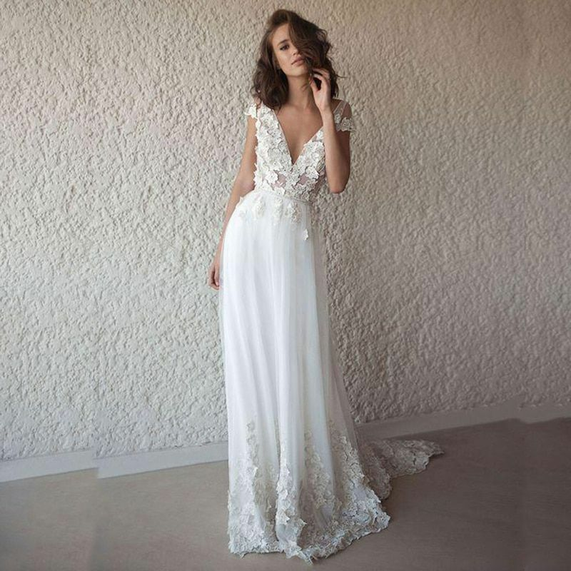 cef0d3235eaed Details about Wedding Dresses Boho Long Backless Beach Style Appliques Lace  V-Neck Modern Gown