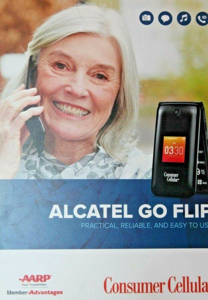 Consumer Cellular Alcatel 4044L Go Flip Cellular Prepaid Phone