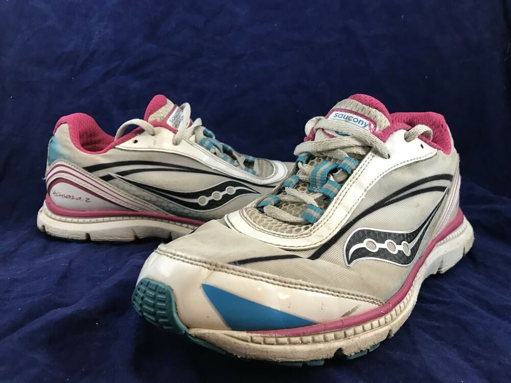 be3f7dec0a8992 Details about Girls SAUCONY KINVARA 2 White Pink Blue Running Shoes Youth  SIZE 5M