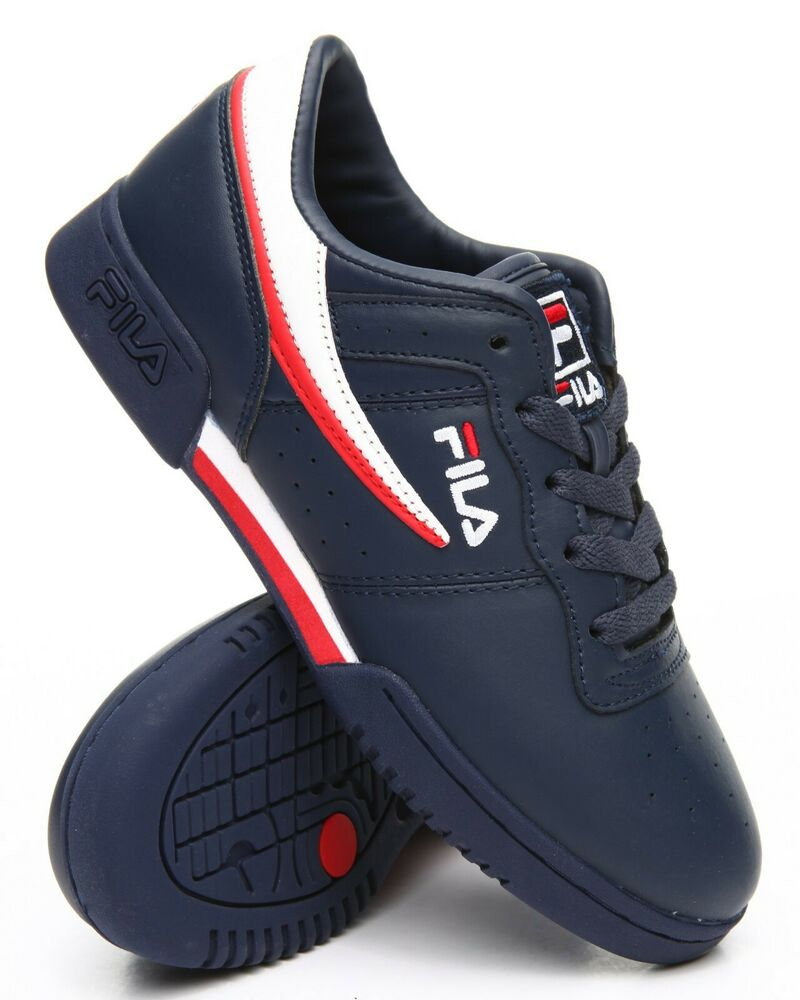 54175a4163 Details about Fila Original Fitness Navy Blue White Red Mens Sneakers  Tennis Shoes Sizes