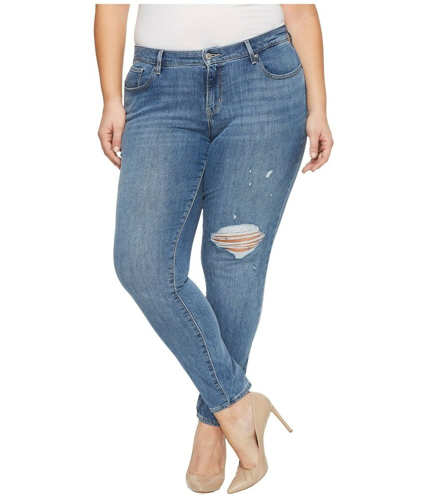 aa97cf4a Details about Levis Plus Size 711 Skinny Jeans Womens Mid Rise Outta Time  Blue Stretch Denim