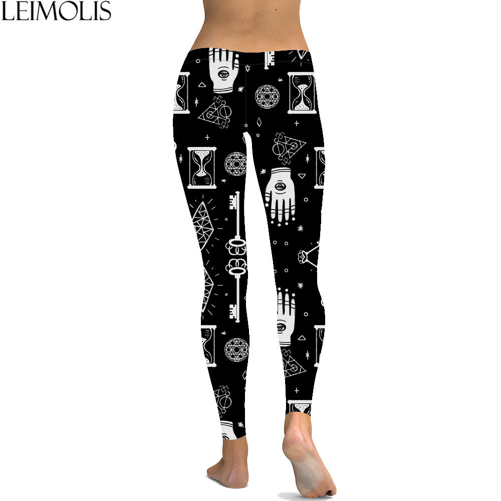 3d43c1d8d3604 Details about WOMEN'S 3 D PRINTED ALCHEMY MAGIC GOTHIC PLUS SIZE YOGA BEACH  SPORT LEGGINGS