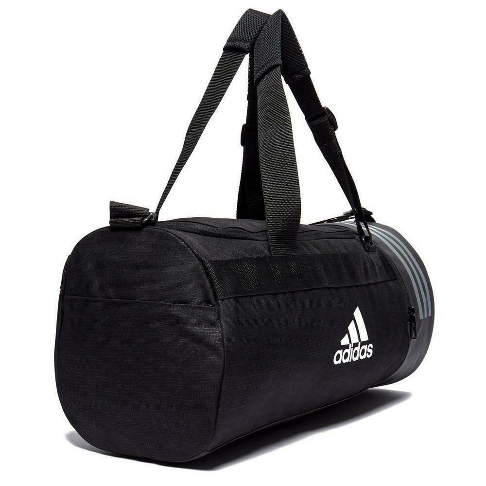 beb5d82d84f Details about Adidas Convertible 3-Stripes Duffel Bag Sports Bag Gym  Holdall Zip Mesh Small