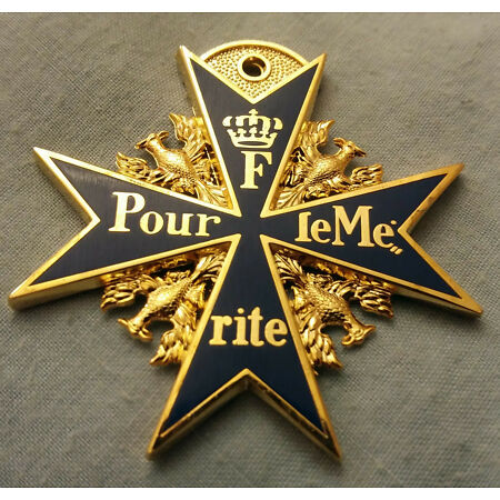 img-World War I German Medal F Pour le Mérite II Prussia Blue Max Gold Old Replica