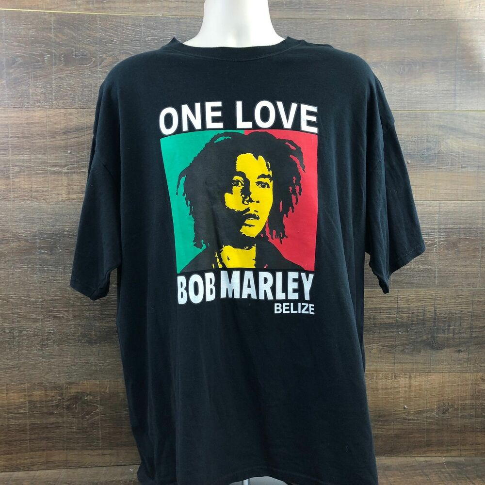 d695f4f30b64ec Details about Bob Marley One Love Belize Men s T-Shirt 413-17 Rasta Reggae  Music Black XXL 2XL