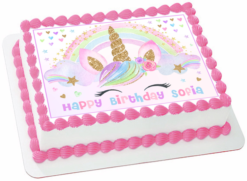 Details About EDIBLE Unicorn Sparkles Wafer 1 4 Sheet Cake Topper Birthday Decoration Image