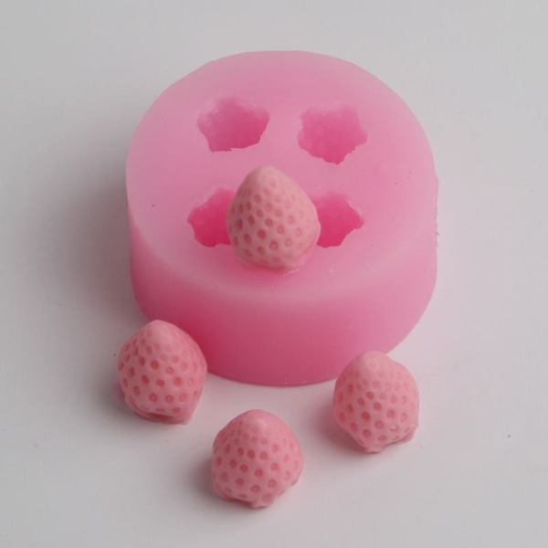 Cute 3D Strawberry Silicone Mold Fruit Cake Fondant Candy Resin Clay Mould Decor
