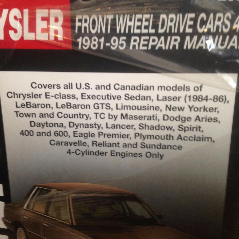 Details about CHRYSLER Town and Country 1995 1994 1993 1992 1991 1990 -1981 Service  Manual