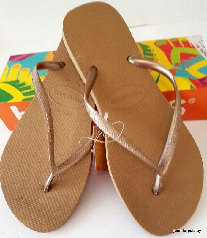 0ead22b6f59 HAVAIANAS BNWT LADIES THONGS FLIP FLOPS Sandals Metallic Rose Gold Slim  Logo