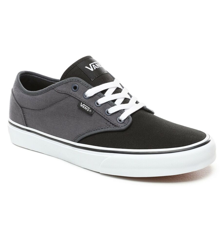 51e6e12650ad31 VANS Atwood Mens Canvas Skater Trainers Shoes Lace Up Plimsolls Tone Black  Grey