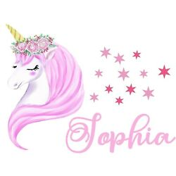 Personalised Unicorn Any Name Wall Decal 3D Art Stickers Vinyl Room Bedroom 20