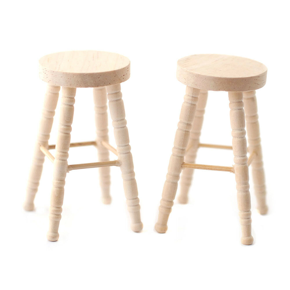 Details About Dollhouse Miniature Unfinished Wood Bar Stools Set Of 2 1 12 Scale Furniture