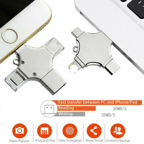 4 in 1 Type-C Pendrive USB Flash Drive OTG Memory Stick LOT For iPhone iPod PC