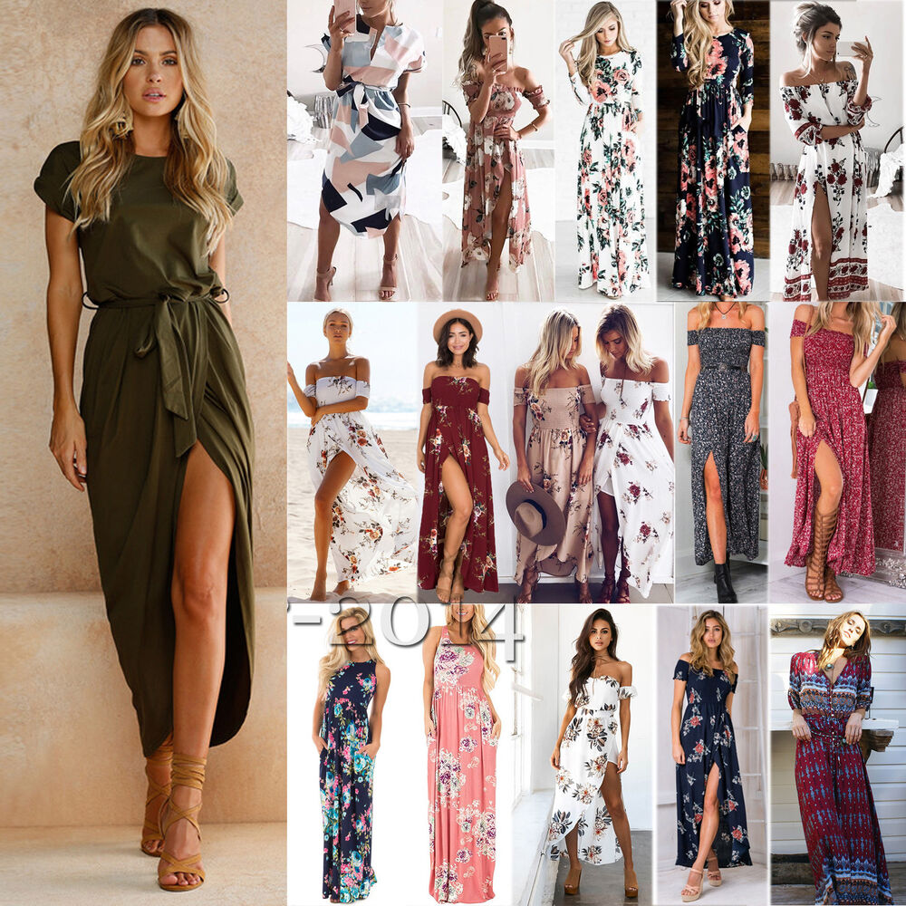 03987ad3d22b Details about Womens Boho Holiday Floral Casual Summer Beach Party Cocktail  Long Maxi Dress US