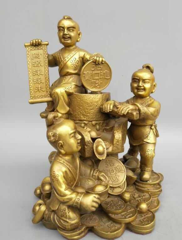 China Seiko carving pure brass God of Wealth statue