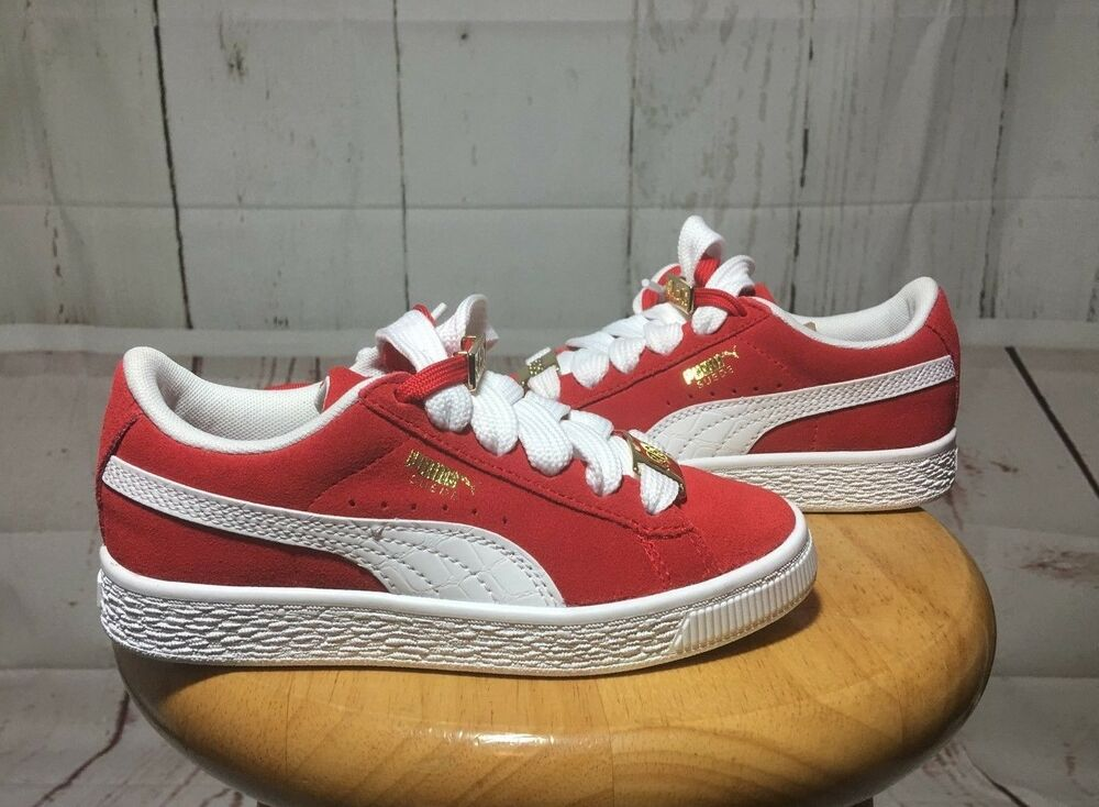 3b3336d8494fa0 PUMA-Boys Red Suede   White 1968 Gold Tab Low Top Fat Lace Sneakers-Size  13c
