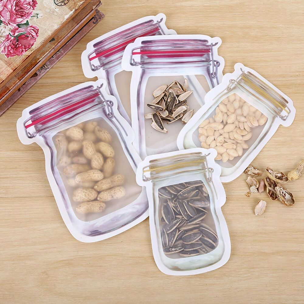 Mason Jar Smell Proof Zipper Bag Airtight Reusable Snack Bags Food