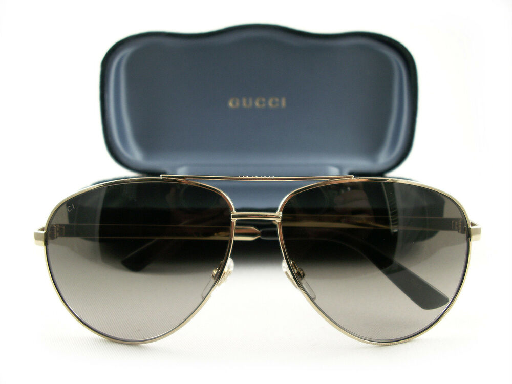 87284373bd4 Gucci GG0137S Sunglasses Gold Brown 001 Authentic New 889652077819 ...
