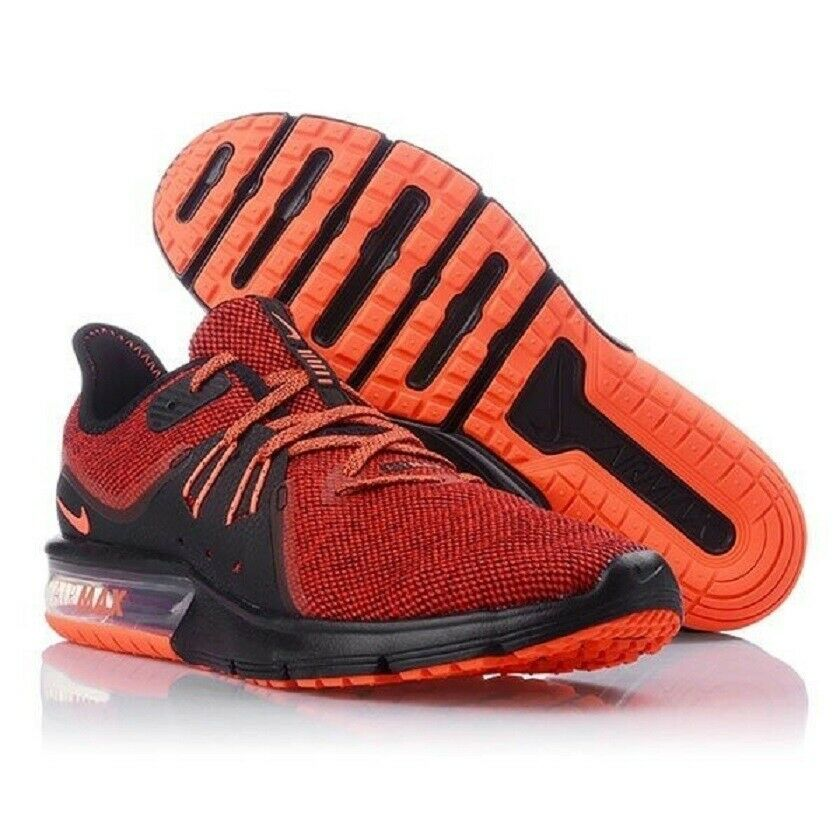 more photos 5c081 653c9 Details about NEW MEN S NIKE AIR MAX SEQUENT 3 RUNNING 921694-066 BLACK    TOTAL CRIMSON SZ 9.5