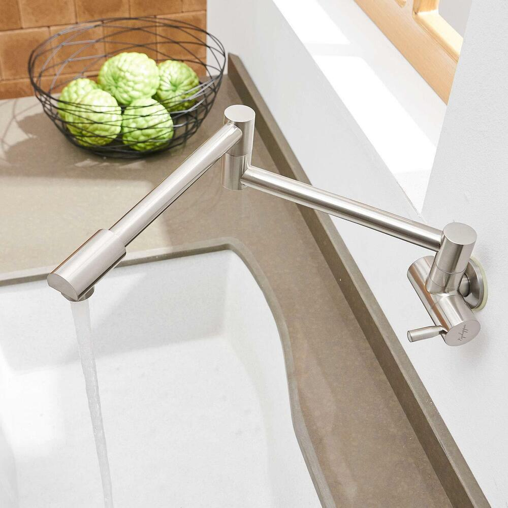 Kitchen Faucet Double Joint Swing Arm Brushed Nickel Wall