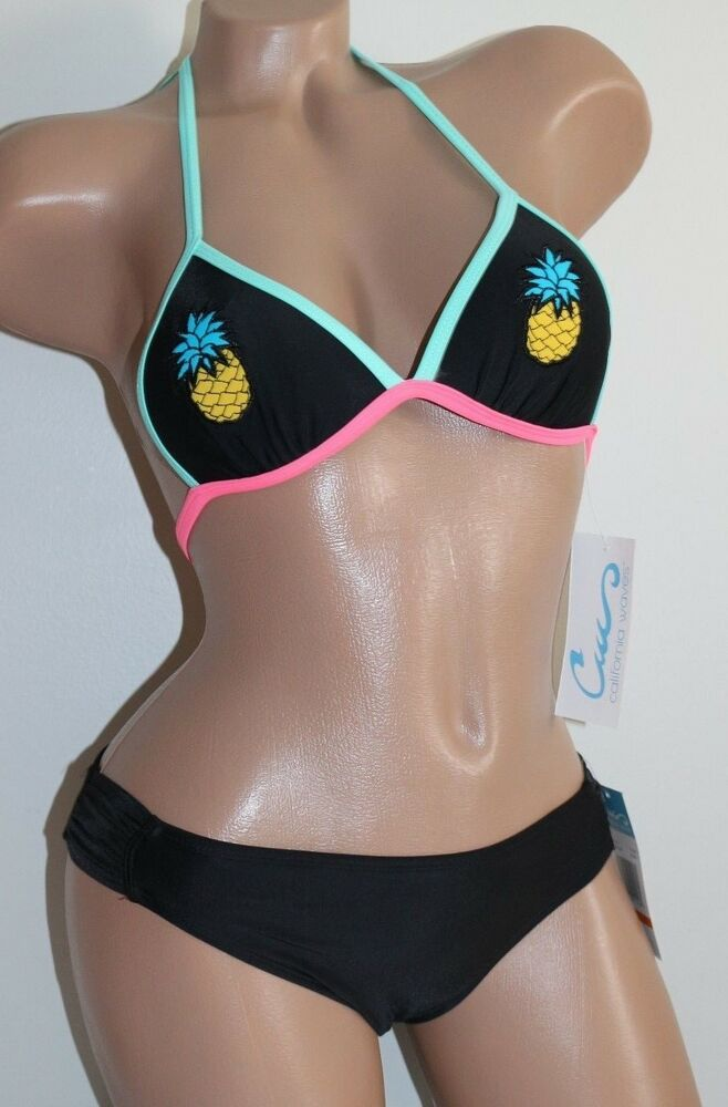ab6c2b95b49 Details about California Waves Size Small Black Pineapple Patch Push Up  Bikini 2 Piece Set