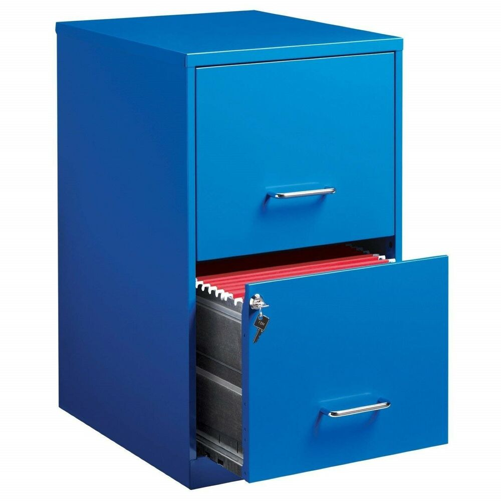 Details About Blue 2 Drawer Filing Cabinet Locking Two Letter Size Metal 18 Compact Office