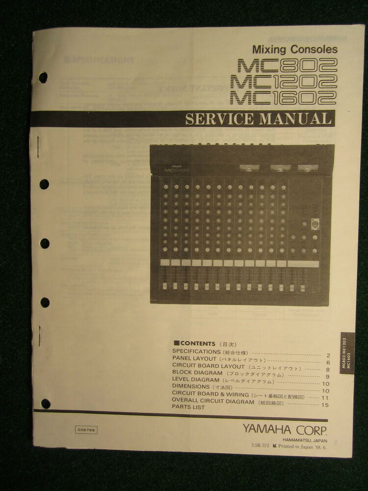 Astounding Yamaha Mixing Console Mc802 1202 1602 Service Repair Shop Manual Wiring Digital Resources Cettecompassionincorg