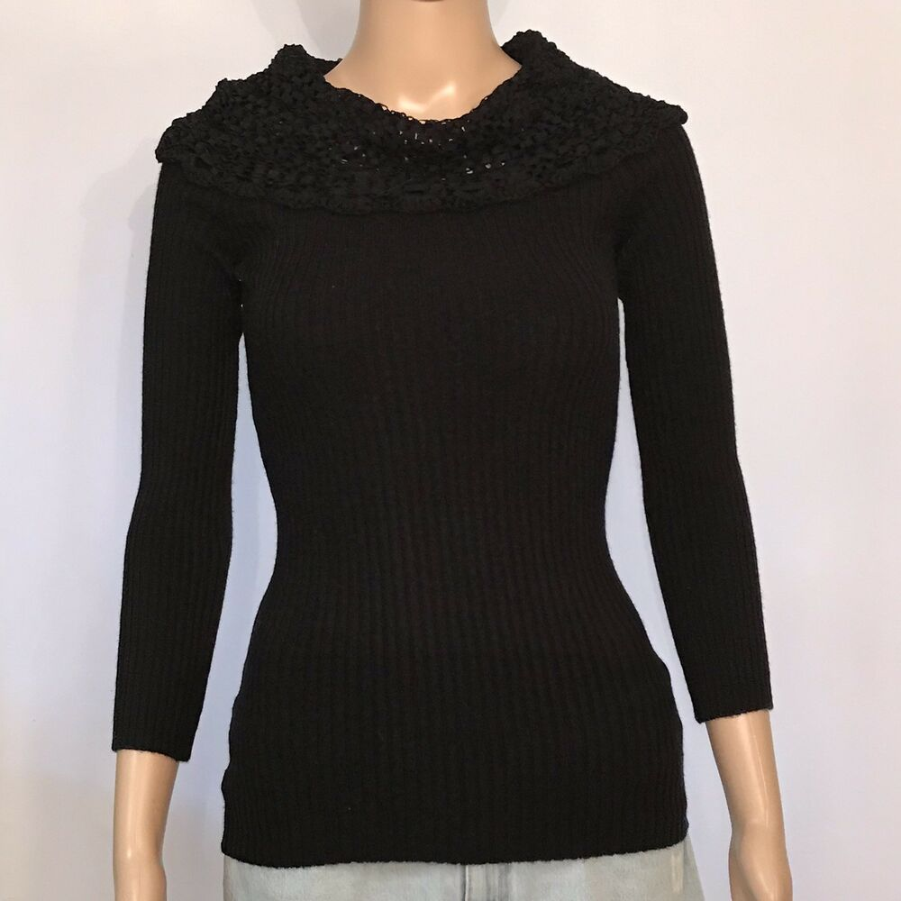 8f3f02a261c2ef Details about BCX Womens S Small Black Sweater Mesh Cowl Neck Ribbed Knit  3/4 Sleeves Top