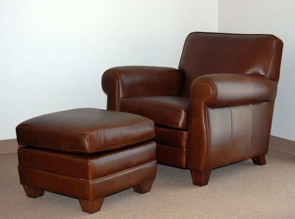 Details About Genuine High End Leather Club Cigar Chair And Ottoman Free Pillow