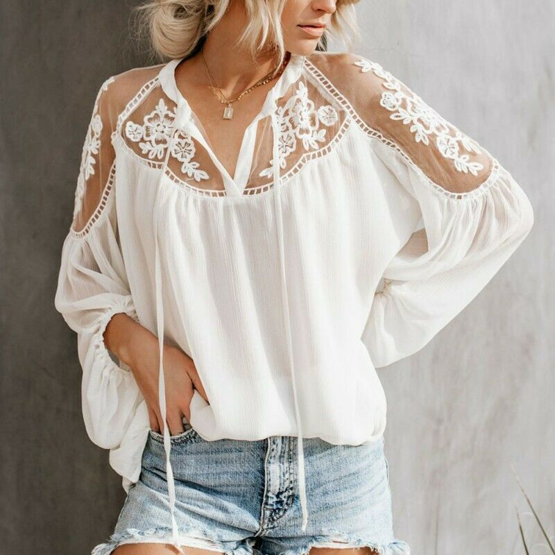 3f31fa55c7a053 Details about Women Sexy V Neck Long Sleeve Lace Sheer Shirt Casual Blouse  Tops Loose T Shirts