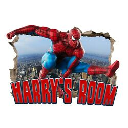 Personalised Any Name Spiderman Wall Decal 3D Sticker Vinyl Room Bedroom 4