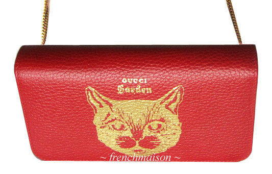 c63ec228b93684 Details about AUTH GUCCI Garden Gold Red Leather CAT HANDBAG Florence Gift  New + Bag + Box