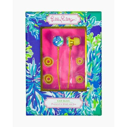 lilly-pulitzer-ear-buds-featured-in-wade-sea-volume-control-earbuds-nib