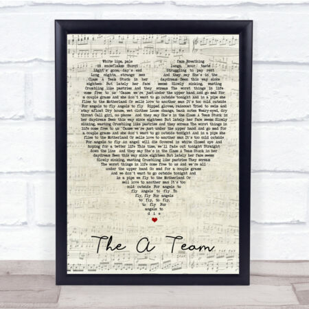 img-The A Team Script Heart Quote Song Lyric Print