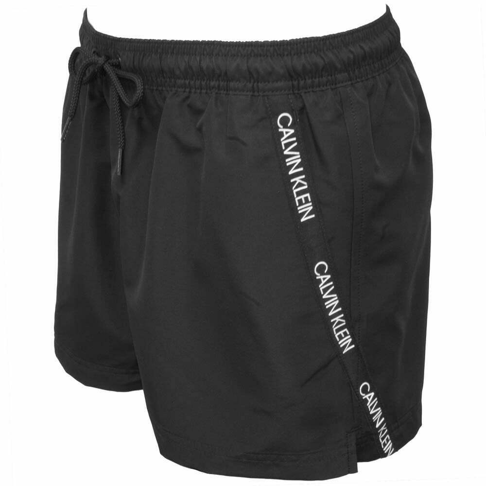 066ee5fa75 Details about Calvin Klein Angled Logo Tape Men's Swim Shorts, Black
