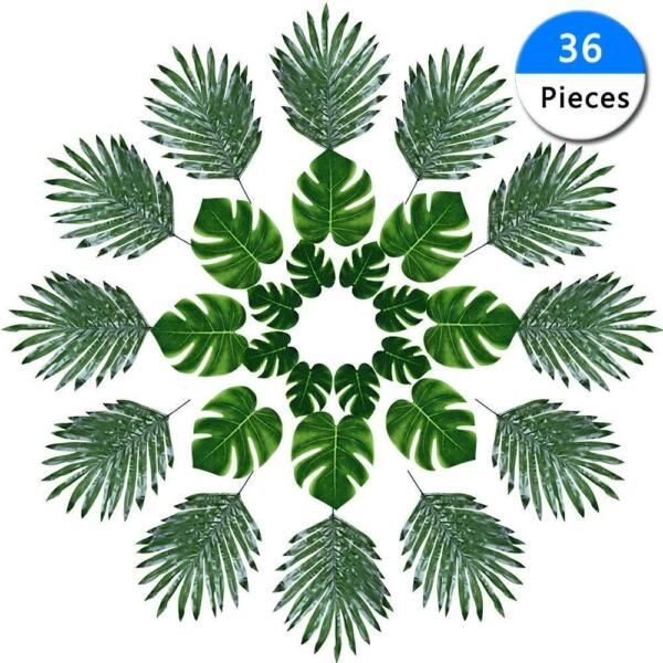 FR 36PCS Artificial Fake Lifelike Tropical Palm Leaves for Home Party Decor