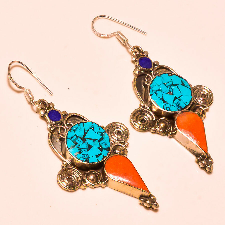 c6146b033 Details about Turquoise, Red Coral With Lapis Lazuli Elegant Nepali Tibetan  Earring S-2.40''