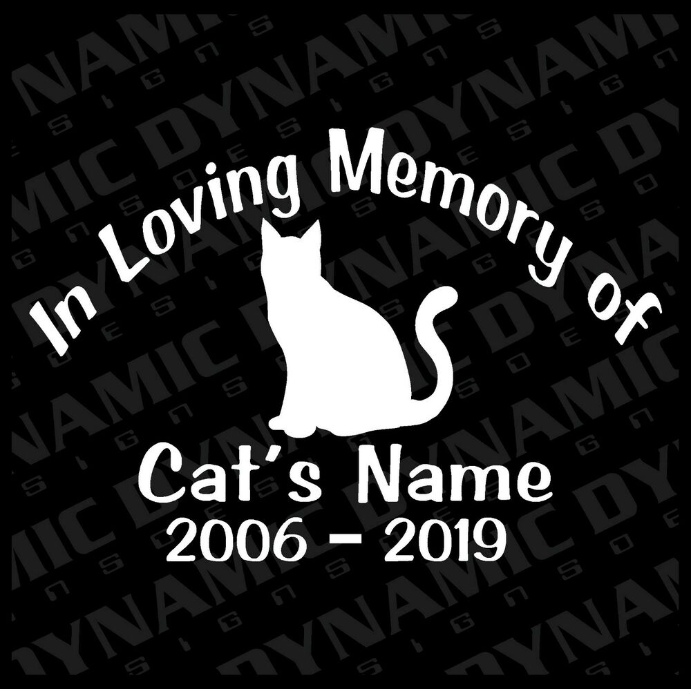 Details about custom in loving memory cat memorial vinyl car window decal sticker name rip