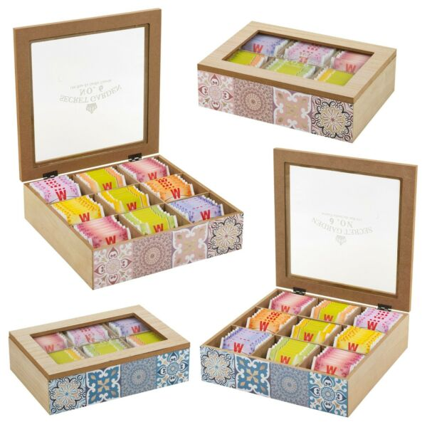 Wooden Tea Box 6 or 9 Section Clear Lid Compartments Container Bag Caddy Floral