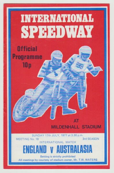 SPEEDWAY ENGLAND V AUSTRALASIA  5TH TEST MATCH PROGRAMME 17TH JULY 1977